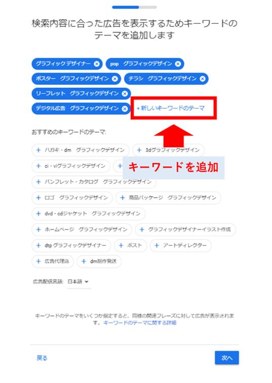 関連キーワードの選択画面