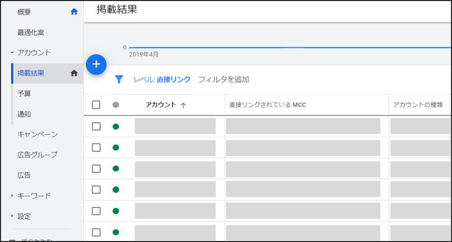 MCCアカウントの管理画面